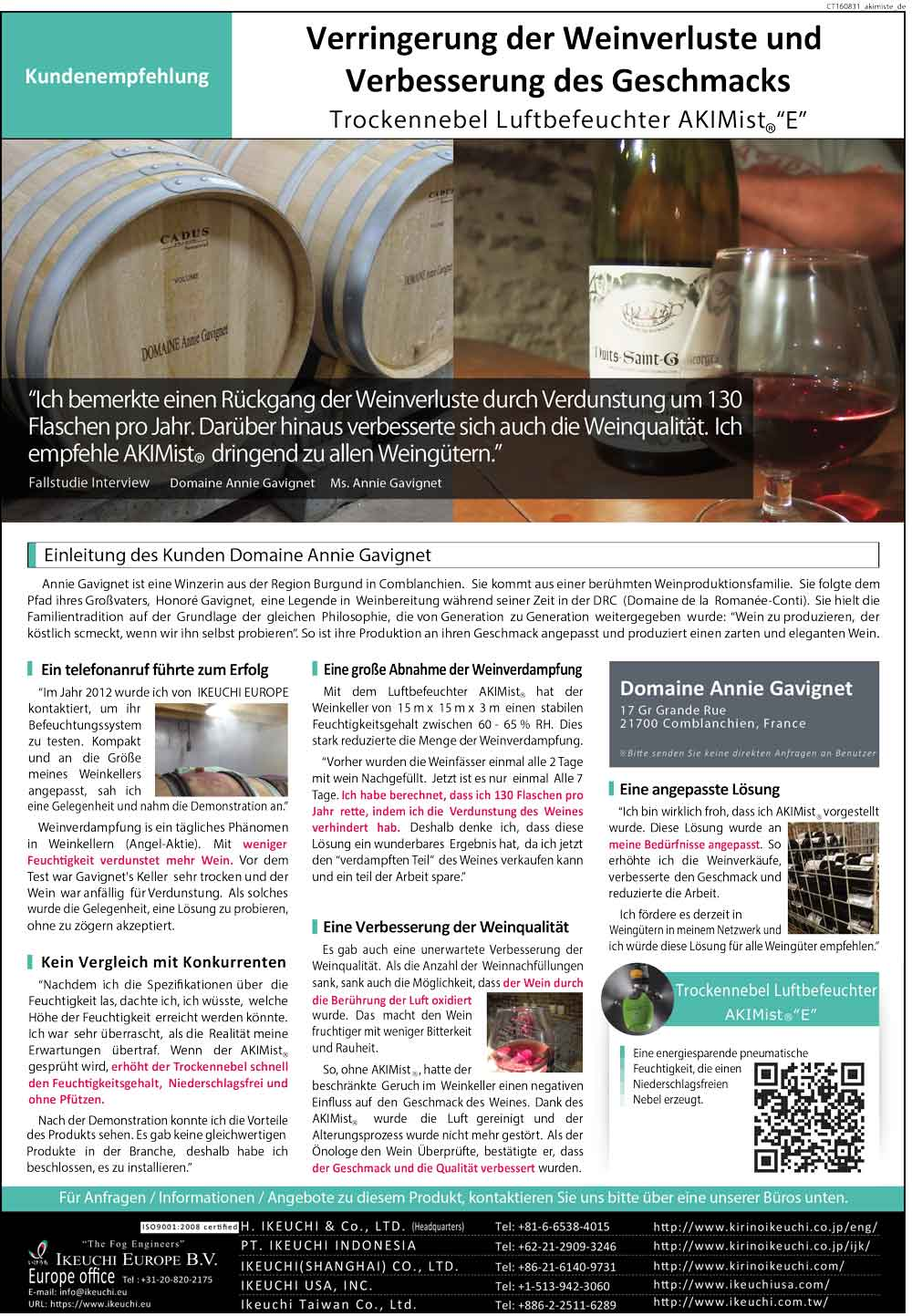 success story humidification in winery